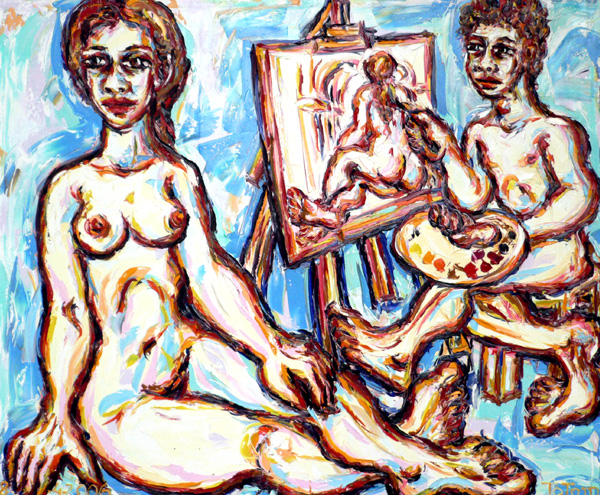 Model and painter